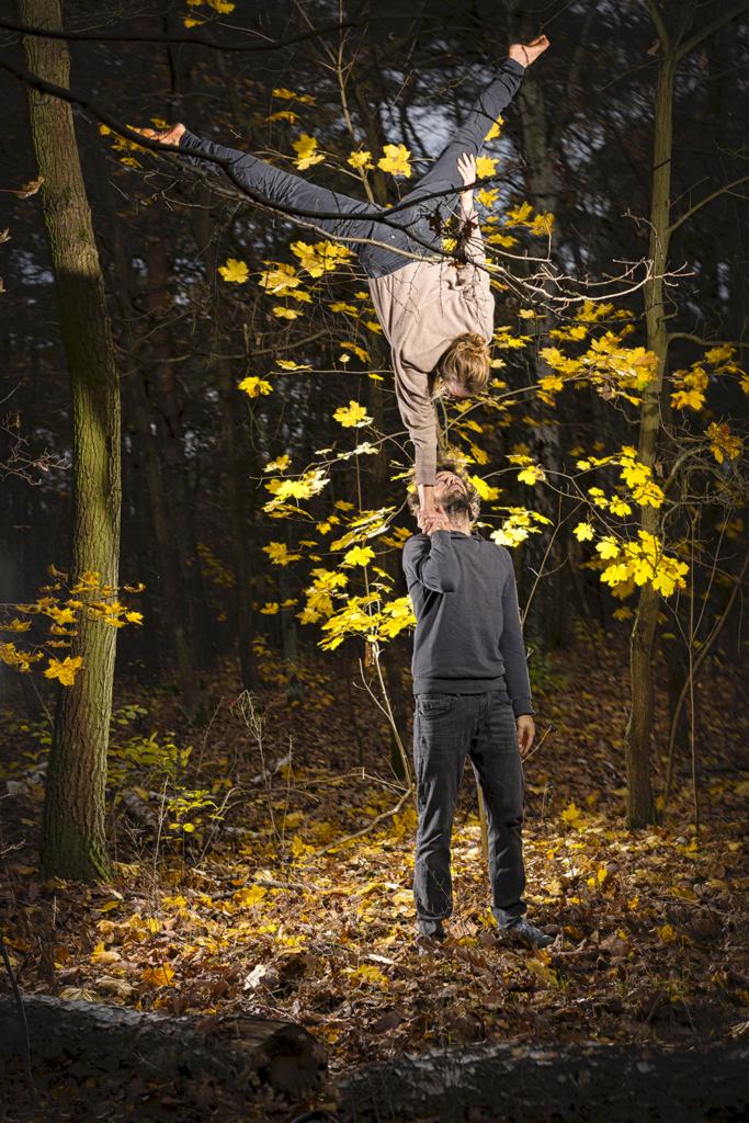 Einarm Handstand im Wald